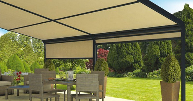 pergola toile enroulable ma pergola. Black Bedroom Furniture Sets. Home Design Ideas